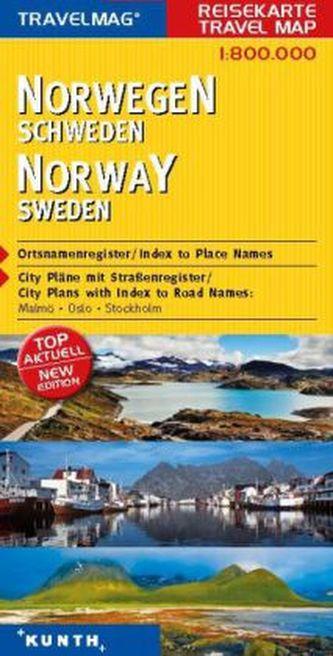 Travelmag KUNTH Reisekarte Norwegen, Schweden 1:800 000