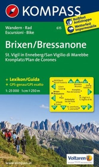 Kompass Karte Brixen, St. Vigil in Enneberg, Kronplatz. Bressanone, San Vigilio di Marebbe, Plan de Corones