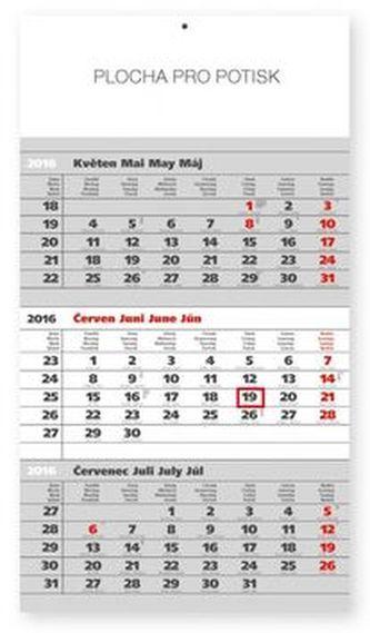 Standard šedý 3měsíční - nástěnný kalendář 2016