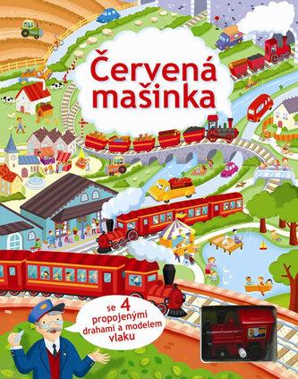 Červená mašinka se 4 propojenými drahami a modelem vlaku