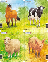 Puzzle MINI - Domácí zvířátka/5 dílků (4 druhy)