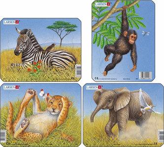 Puzzle MINI - Divoká zvířátka/9 dílků (4 druhy) - neuveden