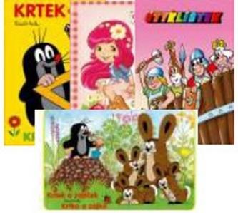 Balíček 4 ks Krtek a škola, Strawberry, Čtyřlístek, Krtek a zajíček - omalovánky