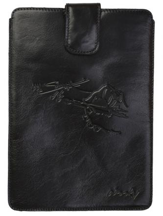 Puzdro 25x20 Saudek čierna koža s prackou iPad2/3