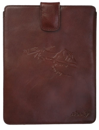 Puzdro 25x20 Saudek hnedá koža s prackou iPad2/3