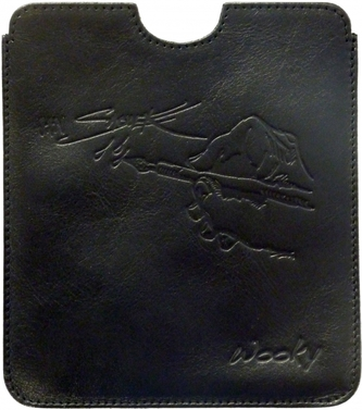 Puzdro 16,8x14,7 Saudek čierna koža eWooky