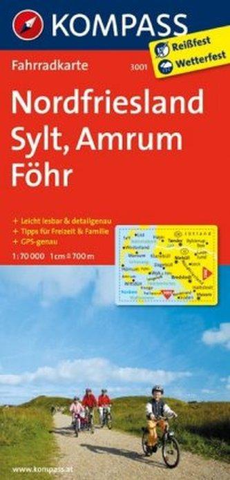 Kompass Fahrradkarte Nordfriesland, Sylt, Amrum, Föhr