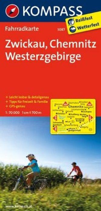 Kompass Fahrradkarte Zwickau, Chemnitz, Westerzgebirge