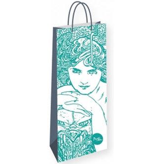 Alfons Mucha - Emerald - dárková taška na lahev - neuveden
