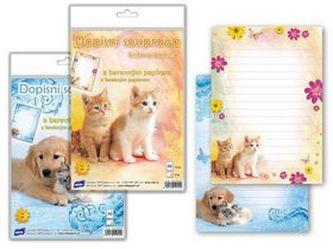 Dopisní papír barevný 5+10 Zvířata