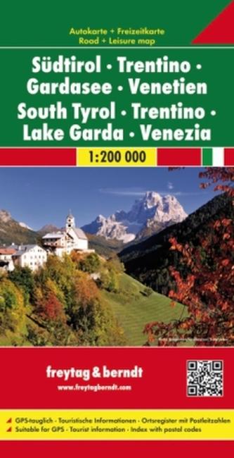Freytag & Berndt Autokarte Südtirol - Trentino - Gardasee - Venetien 1:200.000. South Tyrol, Trentino, Lake Garda, Venezia