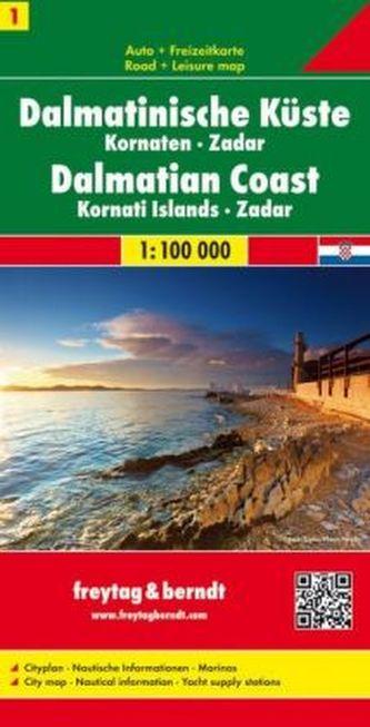 Freytag & Berndt Autokarte Dalmatinische Küste, Kornaten, Zadar. Dalmatinski obala. Dalmatische Kust. Dalmatian Coast. Cote Dalm