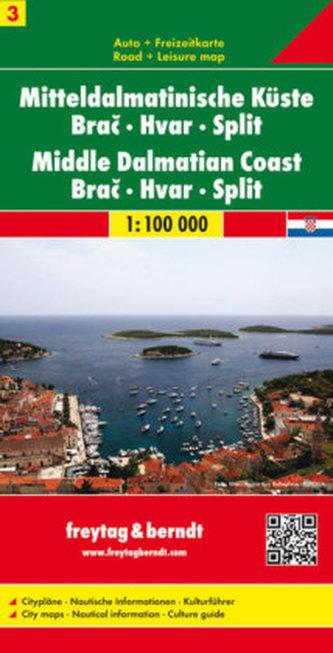 Freytag & Berndt Autokarte Mitteldalmatinische Küste. Srednja dalmatinska obala. Midden dalmatische kust. Tl.3