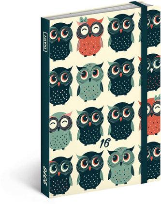 Diář 2016 - Sovy,  10,5 x 15,8 cm (GB, DE, FR, IT, ES, NL)