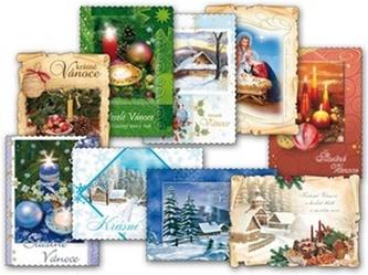 Pohlednice vánoční mix vzorů