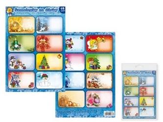 Samolepky na dárky vánoční 16 ks
