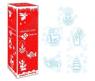 Sprey vánoční sníh s 9 šablonami