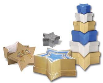 Dárkové krabičky ve tvaru hvězdy 6 kusů