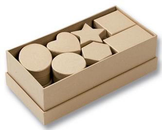 Dárkové krabičky různých tvarů, 15 kusů, přírodní barva