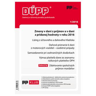 DUPP 1/2016 Zmeny v dani z prijmov a v dani z pridanej hodnoty v roku 2016
