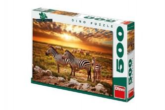 Puzzle Zebry na poušti 47x33cm 500dílků v krabici