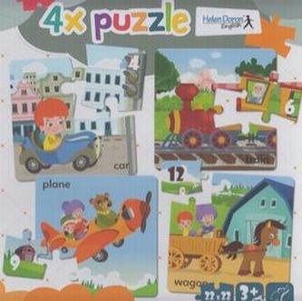 4x puzzle Car, train, plane, wagon