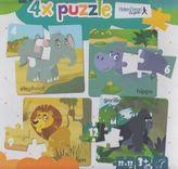 4x puzzle Elephant, hippo, lion, gorilla