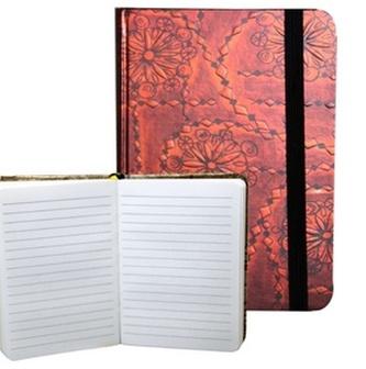 Zápisník s gumičkou 95x140 mm červenočerný ornament A