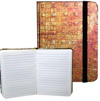 Zápisník s gumičkou 95x140 mm zlatý s červenou mřížkou A