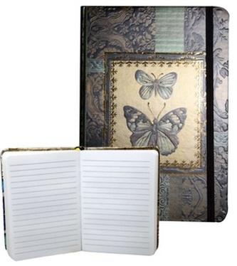 Zápisník s gumičkou 95x140 mm zlatý s 2 motýli A