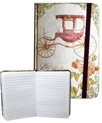 Zápisník s gumičkou 95x140 mm zlatý s kočárem  A