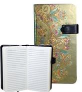 Zápisník s magnetickým klipem 85x160 mm zlatý s barevným ornamentem B