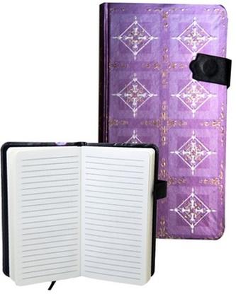 Zápisník s magnetickým klipem 85x160 mm fialový se zlatobílým ornamentem B