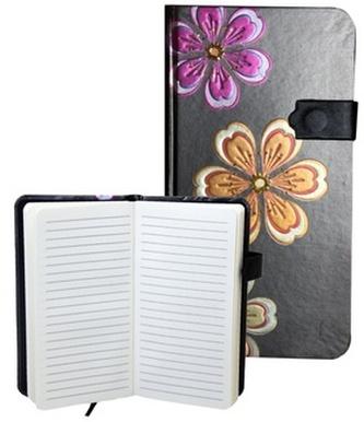Zápisník s magnetickým klipem 85x160 mm černý s 3 květinami B