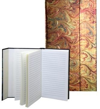 Zápisník s magnetickou klopou 100x180 mm žlutooranžová batika C