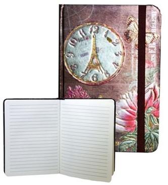 Zápisník s gumičkou 178x126 mm zlatý s hodinami F