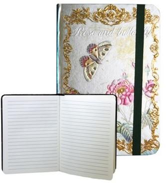 Zápisník s gumičkou 178x126 mm růže a motýli F