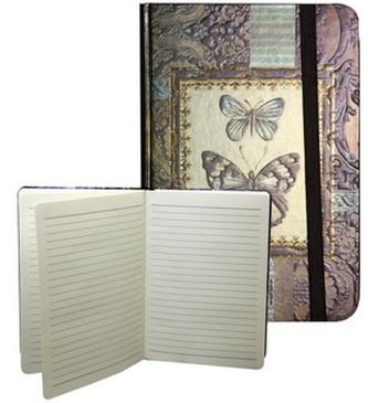 Zápisník s gumičkou A5 145x210 mm zlatý s 2 motýli D