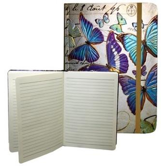 Zápisník s gumičkou A5 145x210 mm zlatý s modrými motýli D