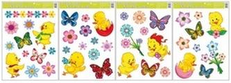 Okenní fólie 790 kuřátka 42x30cm květiny a motýlci