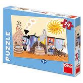 Veselá mašinka v depu - puzzle 24 dílků
