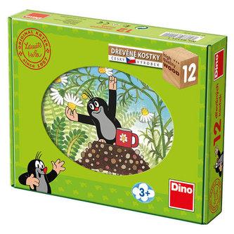 Kostky kubus Krtek a přátelé dřevo 12ks v krabičce 22x17x4cm - Miler Zdeněk