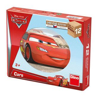Kostky kubus Auta dřevo 12ks v krabičce 22x17x4cm - Disney - Pixar