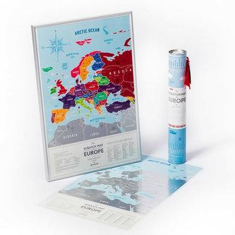 Stírací mapa Evropy Travel Map of the Europe Silver