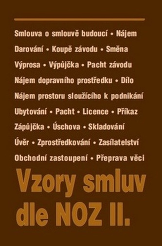 Vzory smluv dle NOZ II.