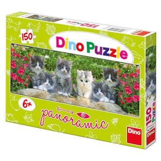 Koťátka v zahradě - puzzle panoramic 150 dílků - neuveden
