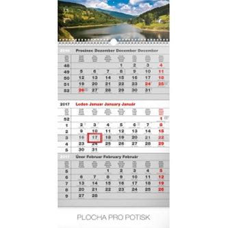 Kalendář nástěnný 2017 - 3měsíční krajina /šedý s českými jmény