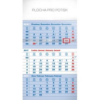 Kalendář nástěnný 2017 - 3měsíční standard/modrý s českými jmény