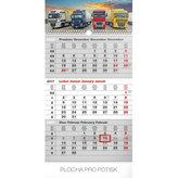 Kalendář nástěnný 2017 - 3měsíční truck/šedý s českými jmény