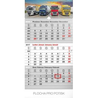 Kalendář nástěnný 2017 - 3měsíční truck/šedý s českými jmény - neuveden